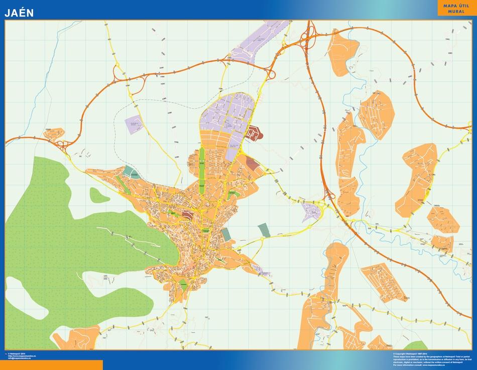 Mapa Jaen callejero plastificado gigante
