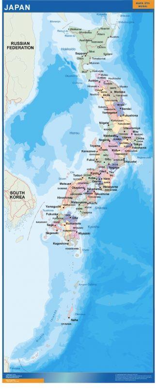 Mapa Japon plastificado gigante