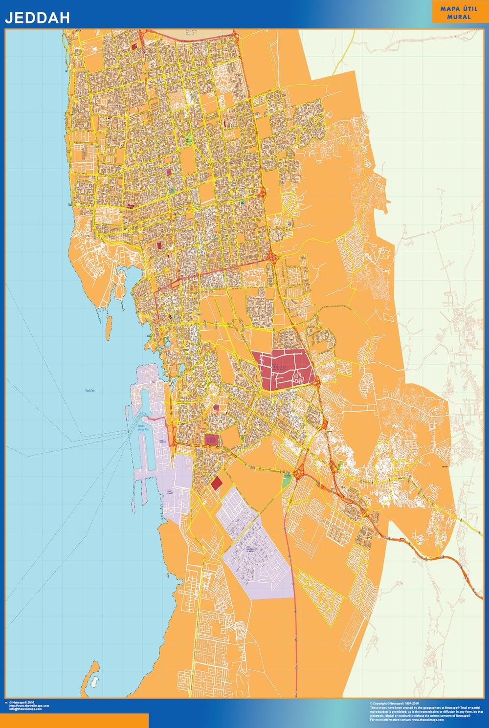 Mapa Jeddah en Arabia Saudita plastificado gigante