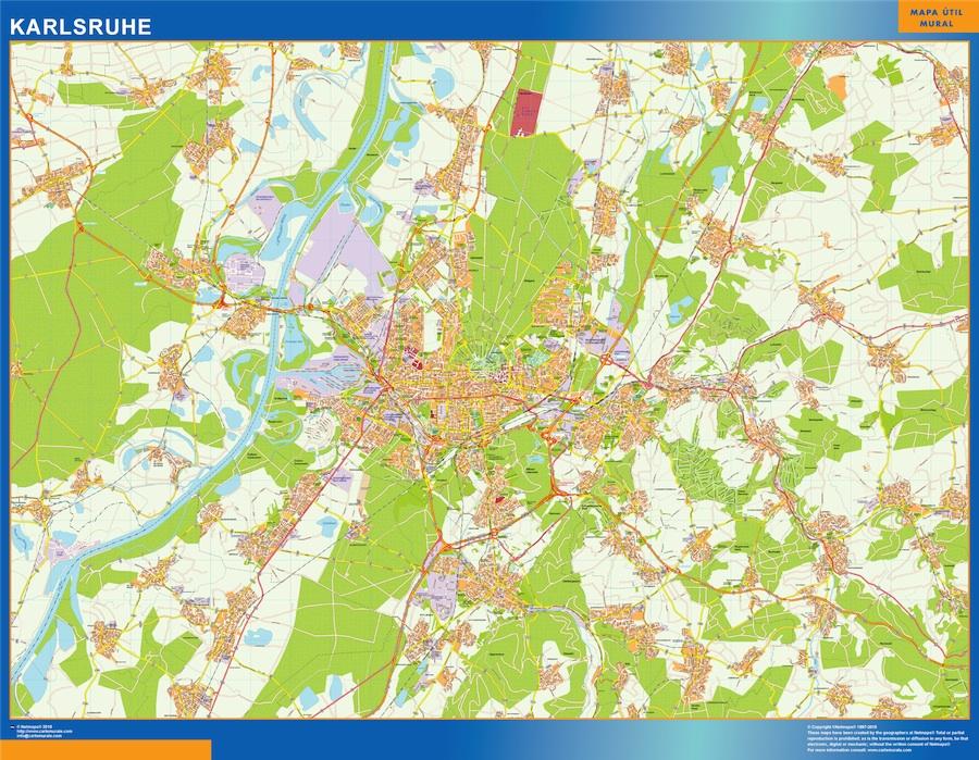 Mapa Karlsruhe en Alemania plastificado gigante