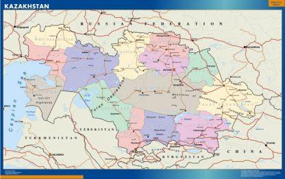 Mapa Kazakhstan plastificado gigante