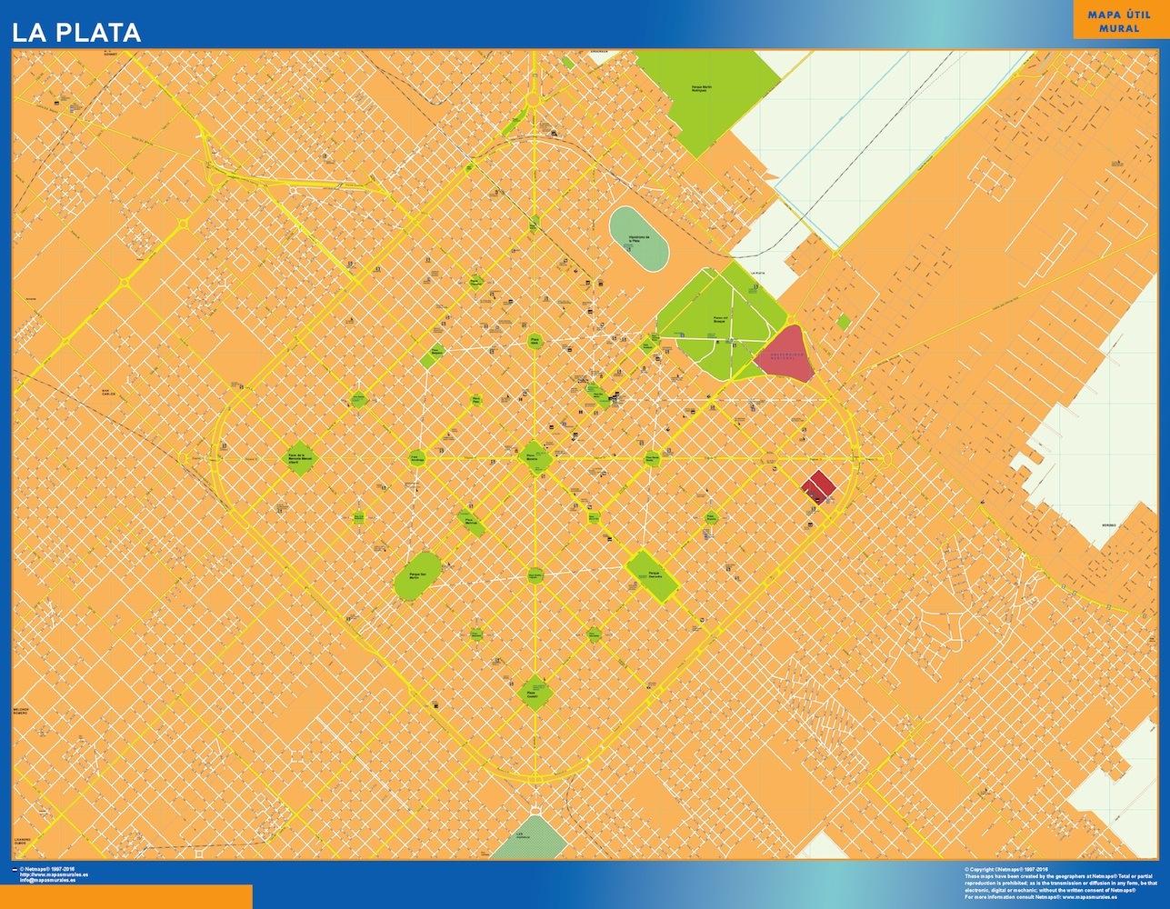 Mapa La Plata en Argentina plastificado gigante