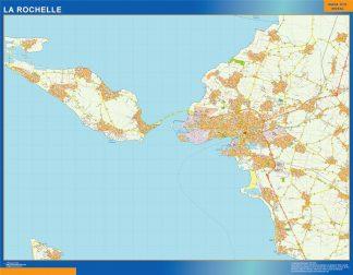 Mapa La Rochelle en Francia plastificado gigante