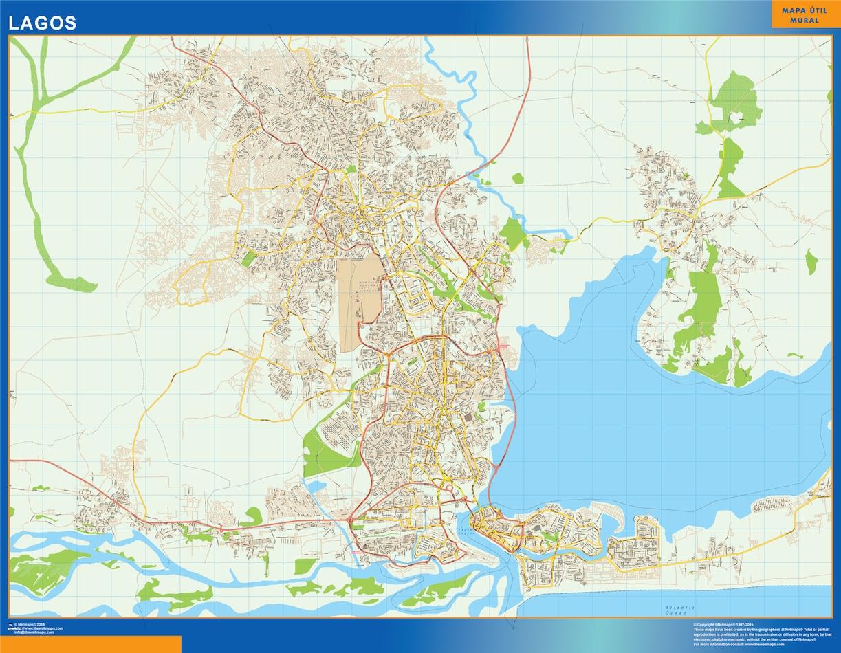 Mapa Lagos en Nigeria plastificado gigante