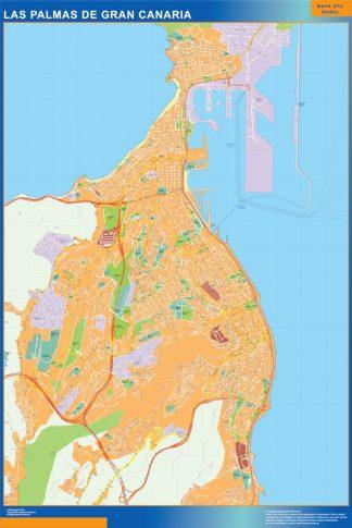 Mapa Las Palmas De Gran Canaria callejero plastificado gigante