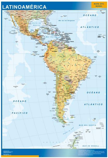 Mapa Latinoamerica plastificado gigante