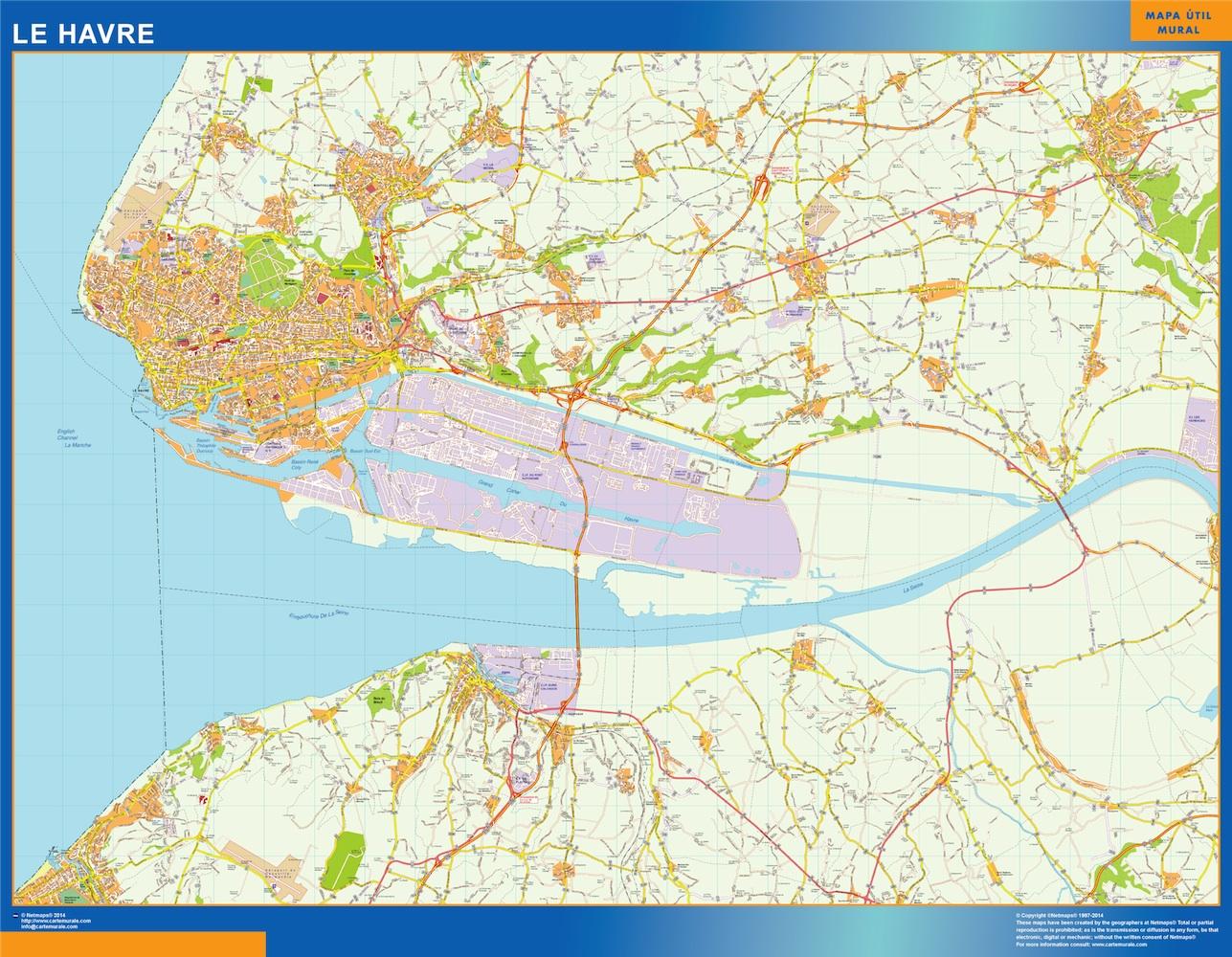 Mapa Le Havre en Francia plastificado gigante