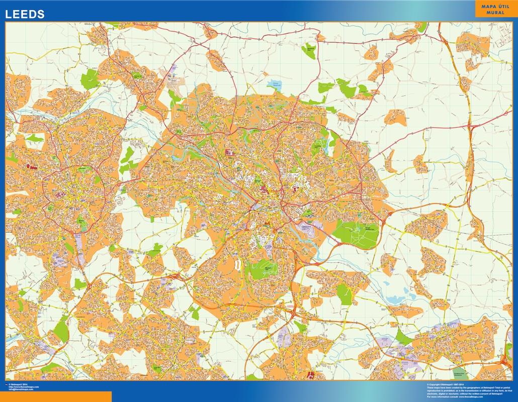 Mapa Leeds plastificado plastificado gigante