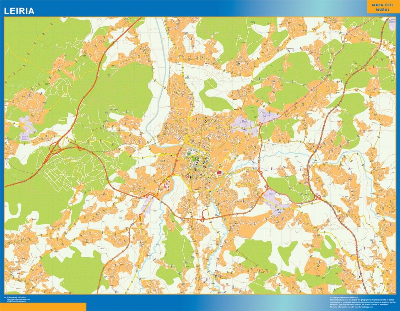 Mapa Leiria en Portugal plastificado gigante