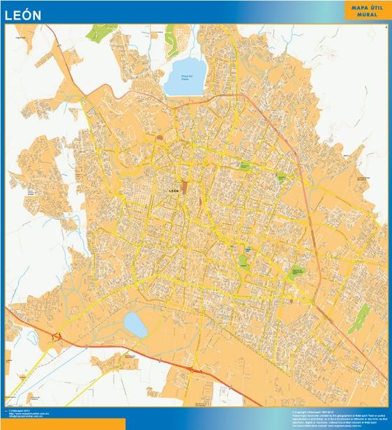 Mapa Leon Centro en Mexico plastificado gigante