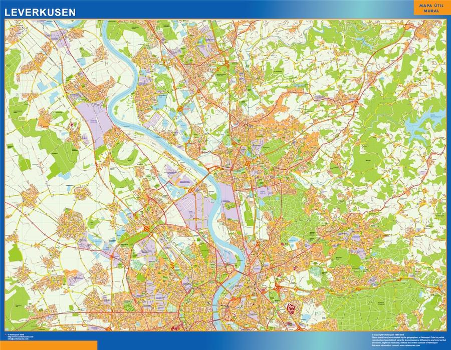 Mapa Leverkusen en Alemania plastificado gigante