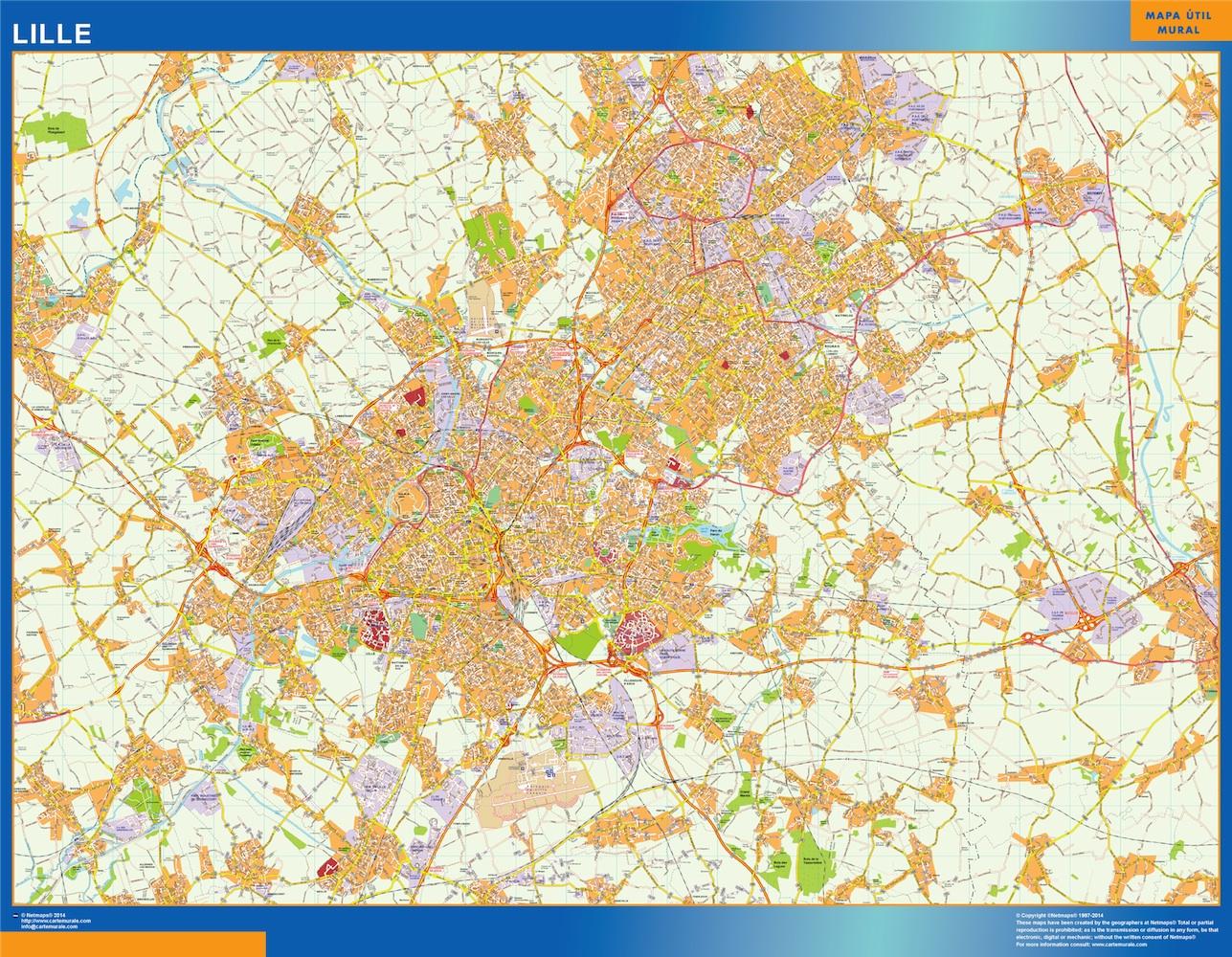Mapa Lille en Francia plastificado gigante