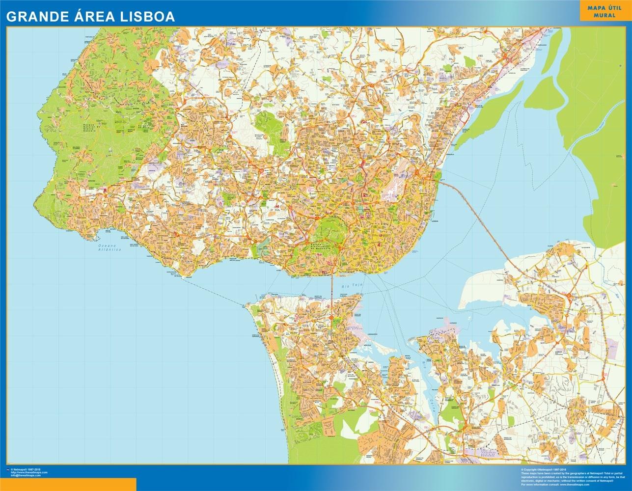 Mapa Lisboa Grande Area en Portugal plastificado gigante