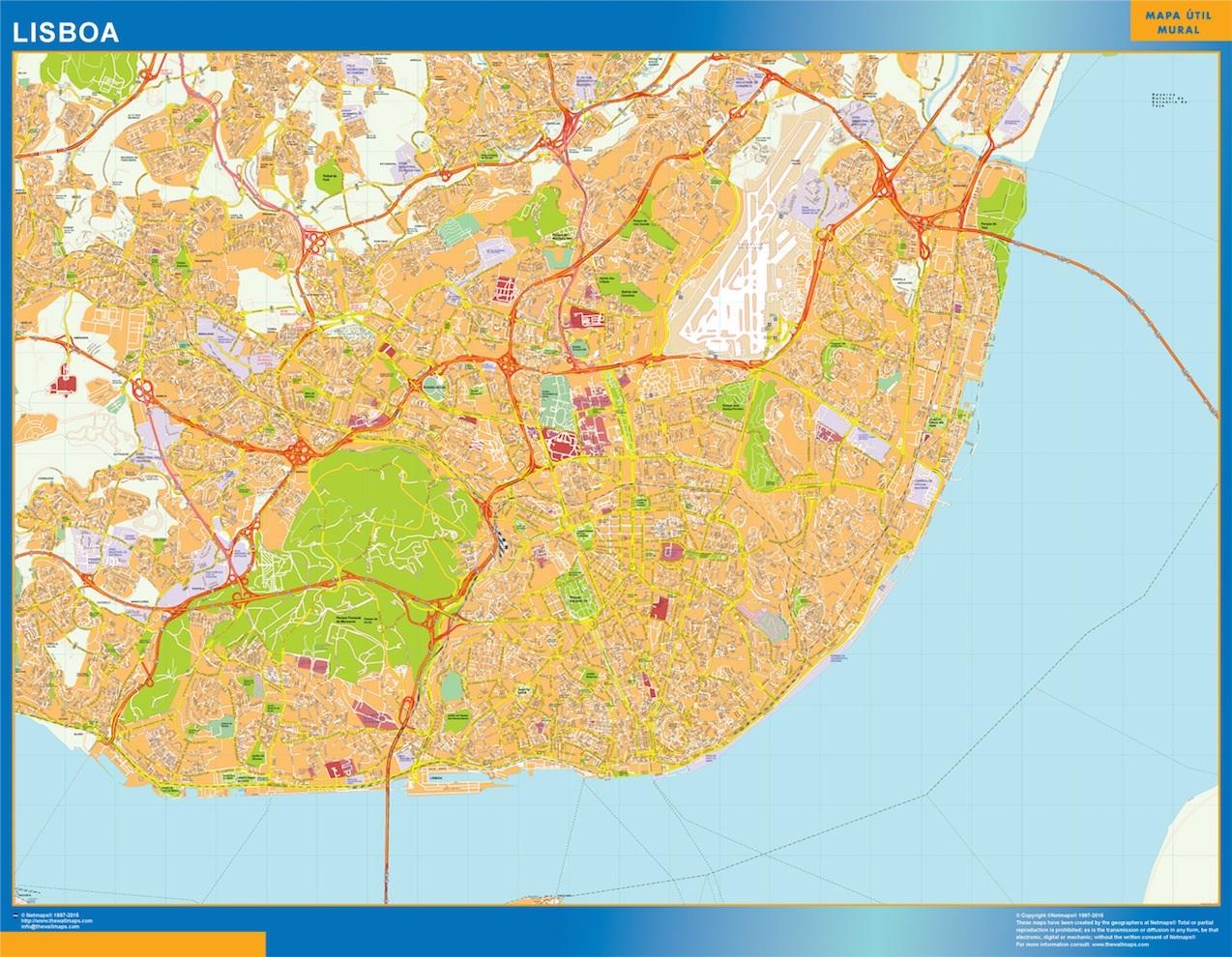 Mapa Lisboa en Portugal plastificado gigante