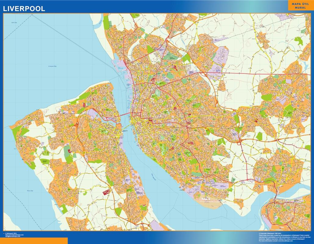 Mapa Liverpool plastificado gigante
