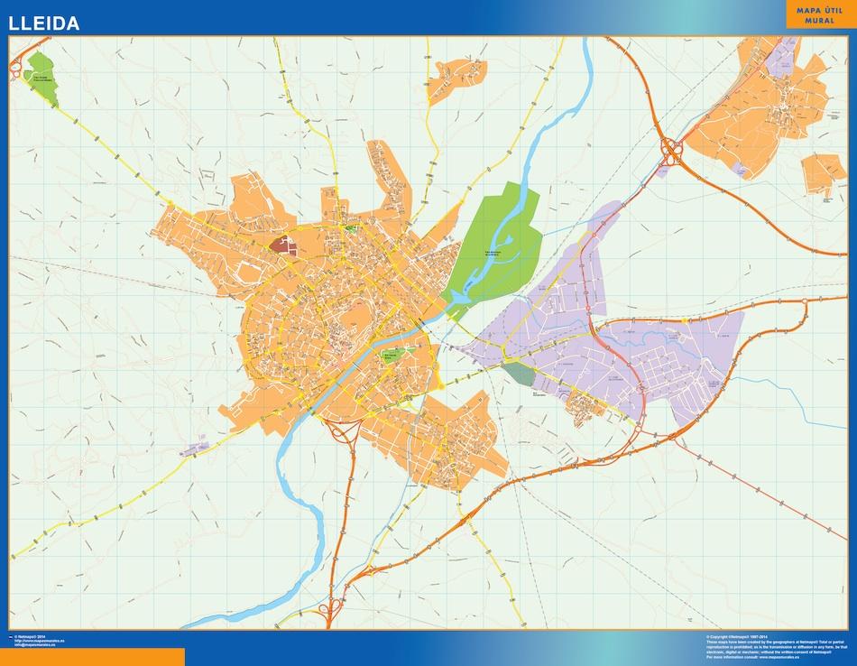 Mapa Lleida callejero plastificado gigante