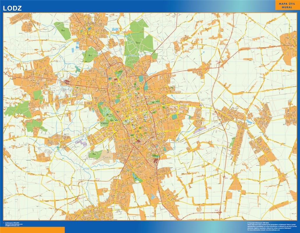 Mapa Lodz Polonia plastificado gigante