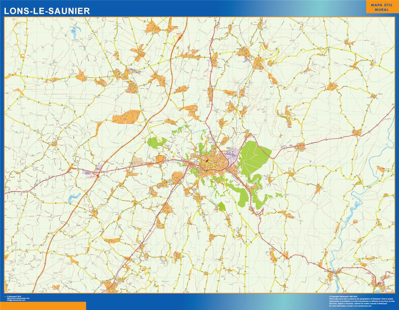 Mapa Lons Le Saunier en Francia plastificado gigante