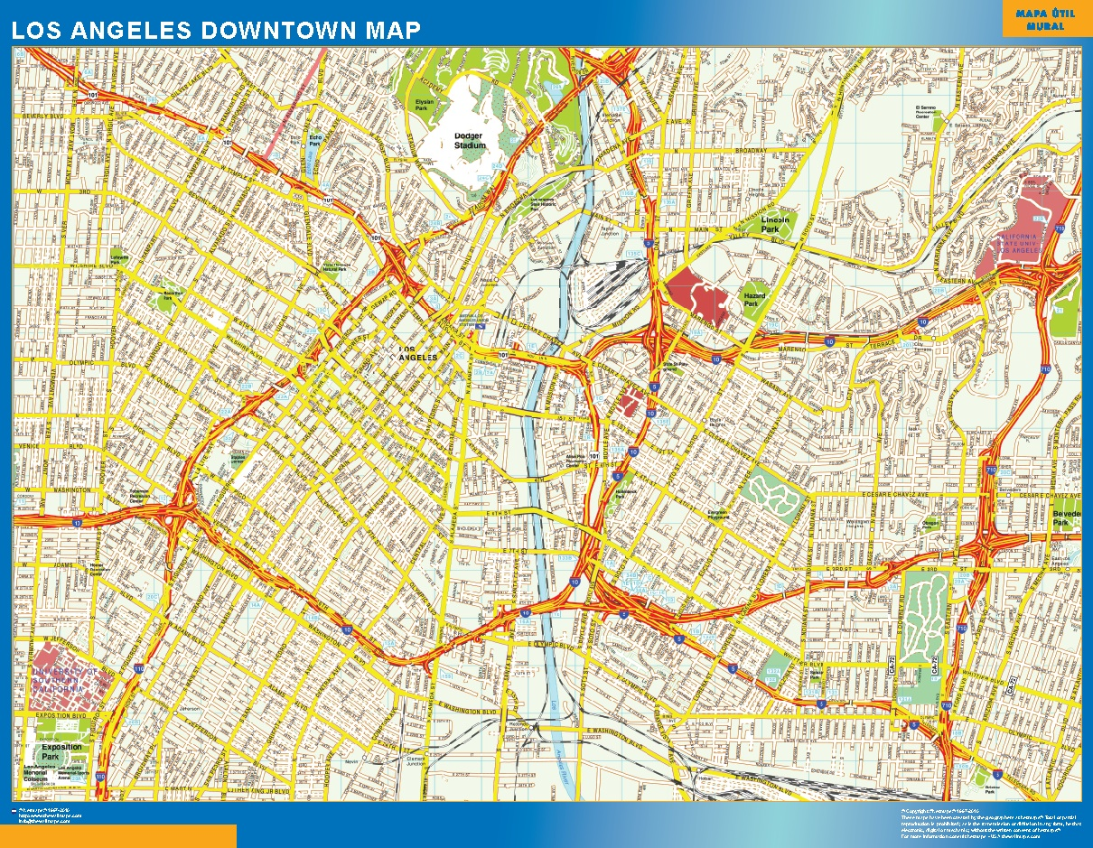 Mapa Los Angeles downtown plastificado gigante