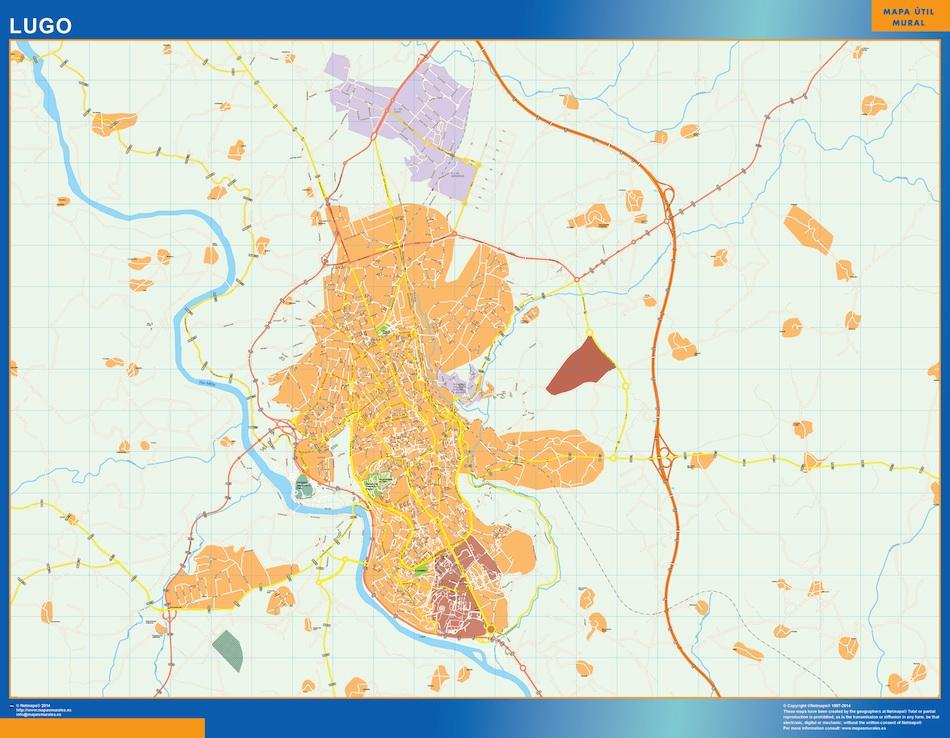 Mapa Lugo callejero plastificado gigante