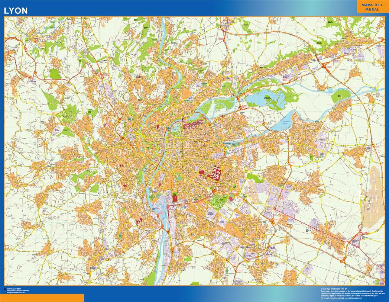 Mapa Lyon en Francia plastificado gigante