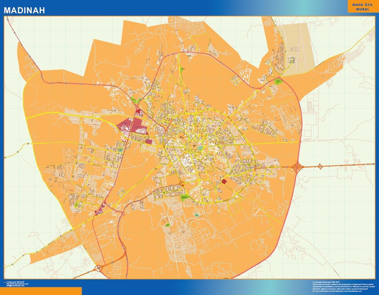 Mapa Madinah en Arabia Saudita plastificado gigante