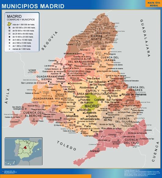 Mapa Madrid por municipios plastificado gigante