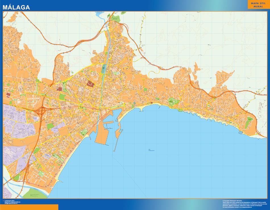Mapa Malaga callejero plastificado gigante