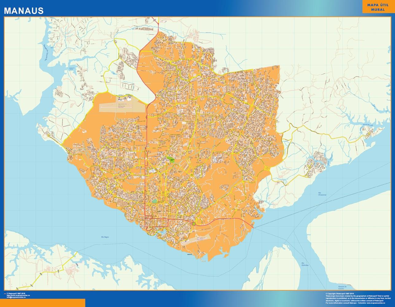 Mapa Manaus Brasil plastificado gigante