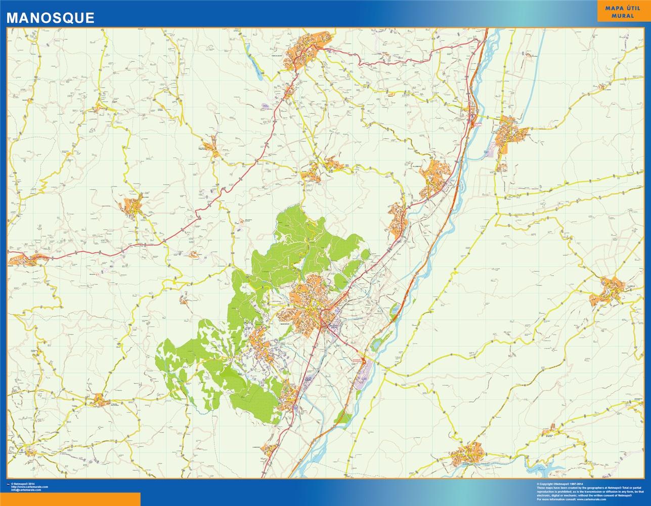Mapa Manosque en Francia plastificado gigante