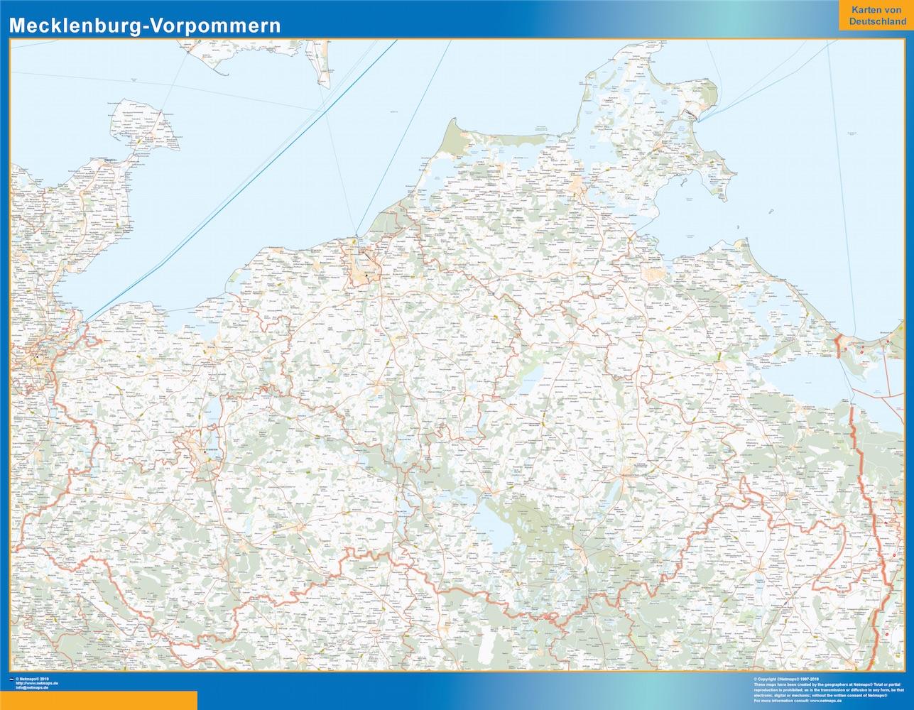 Mapa Mecklenburg-Vorpommern plastificado gigante