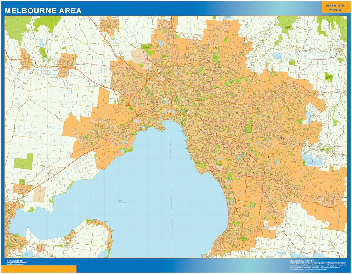 Mapa Melbourne Area Australia plastificado gigante