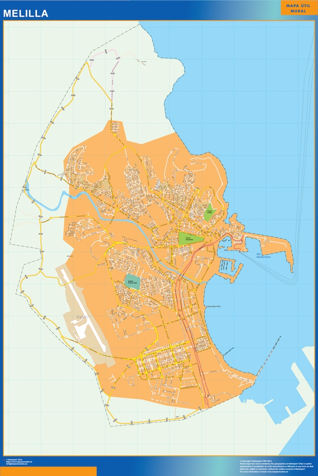 Mapa Melilla callejero plastificado gigante