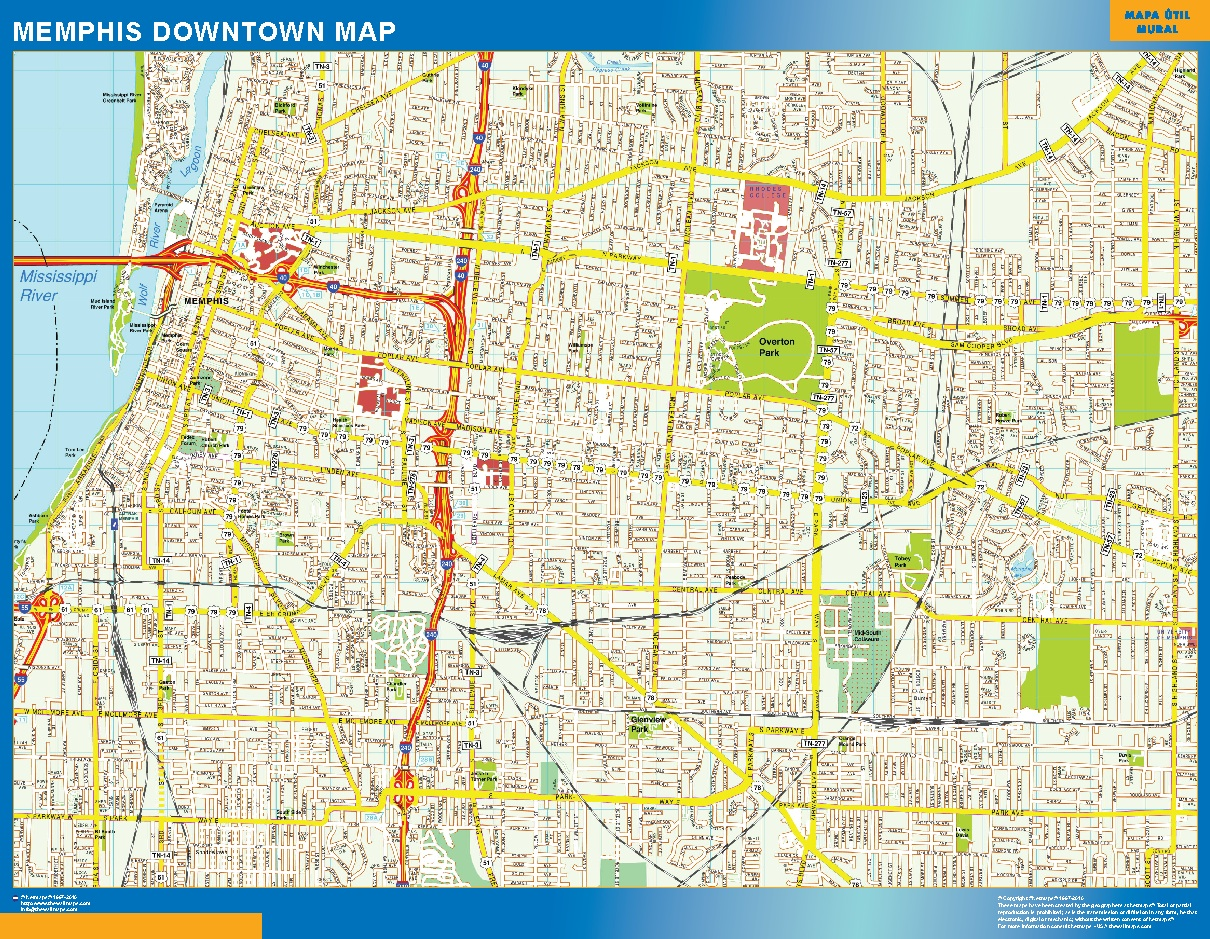 Mapa Memphis downtown plastificado gigante