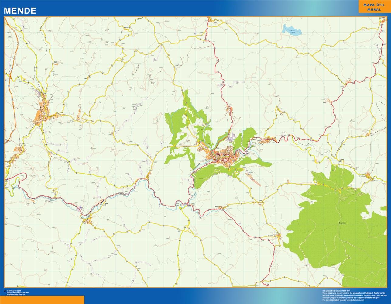 Mapa Mende en Francia plastificado gigante