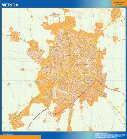 Mapa Merida Centro en Mexico plastificado gigante