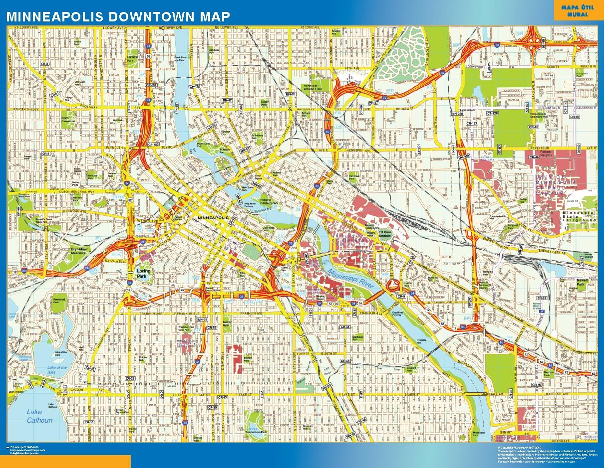 Mapa Minneapolis downtown plastificado gigante