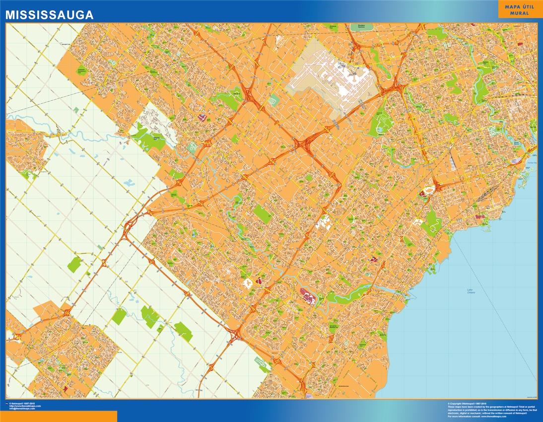 Mapa Mississauga en Canada plastificado gigante