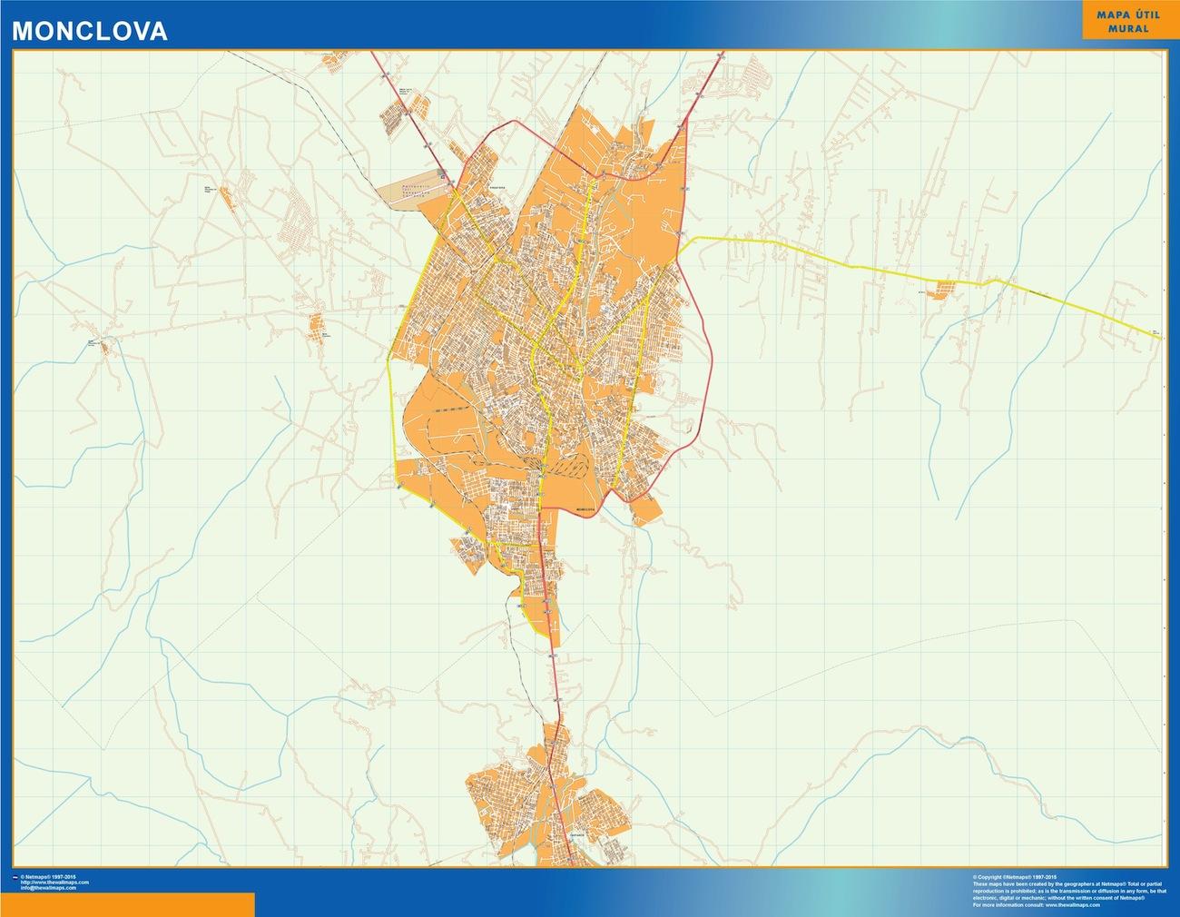 Mapa Monclova en Mexico plastificado gigante