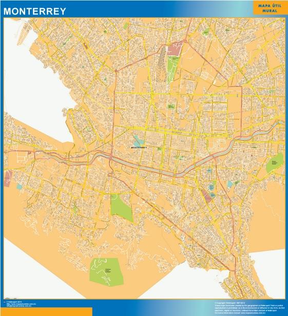 Mapa Monterrey Centro en Mexico plastificado gigante