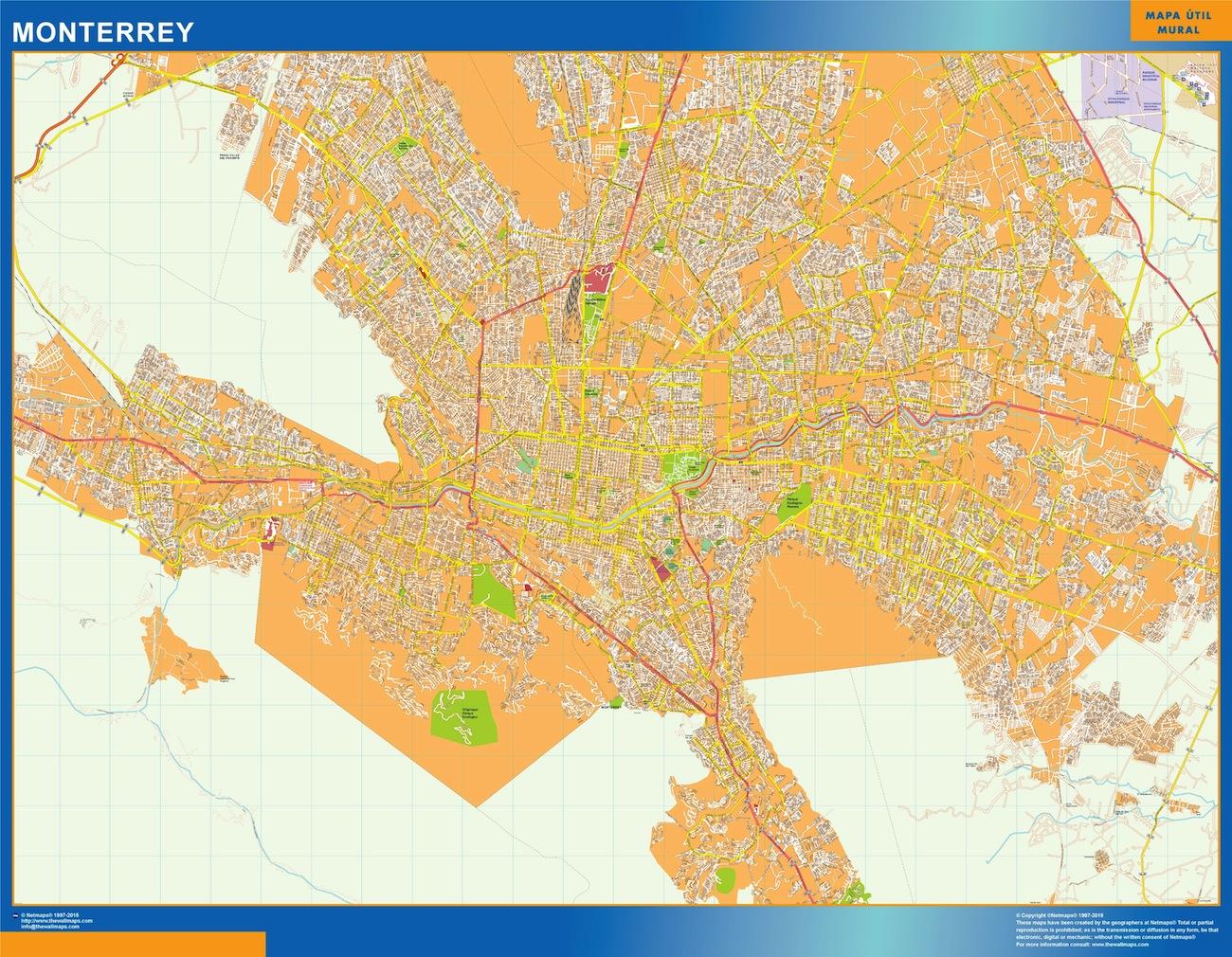 Mapa Monterrey en Mexico plastificado gigante