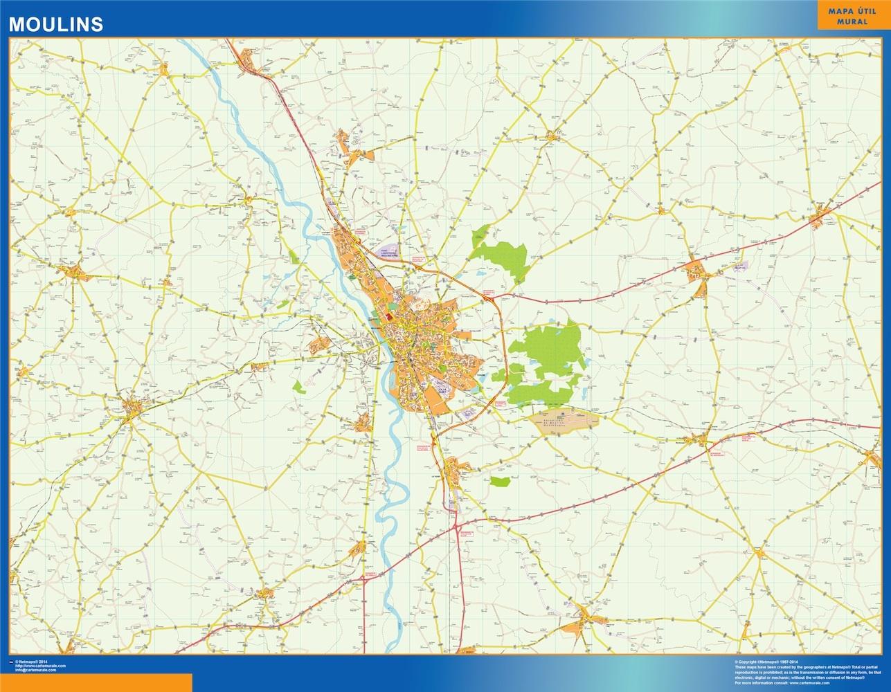 Mapa Moulins en Francia plastificado gigante