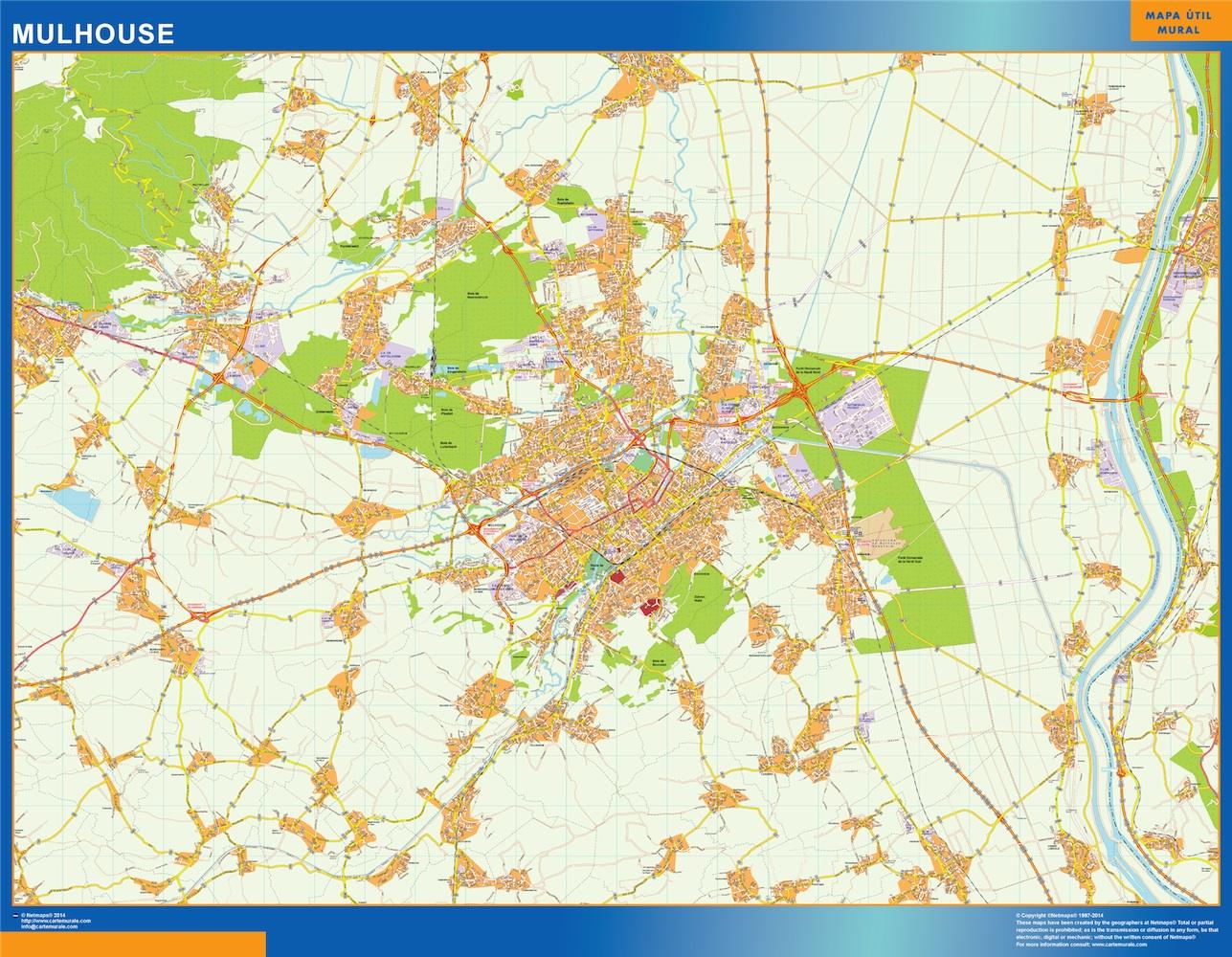 Mapa Mulhouse en Francia plastificado gigante