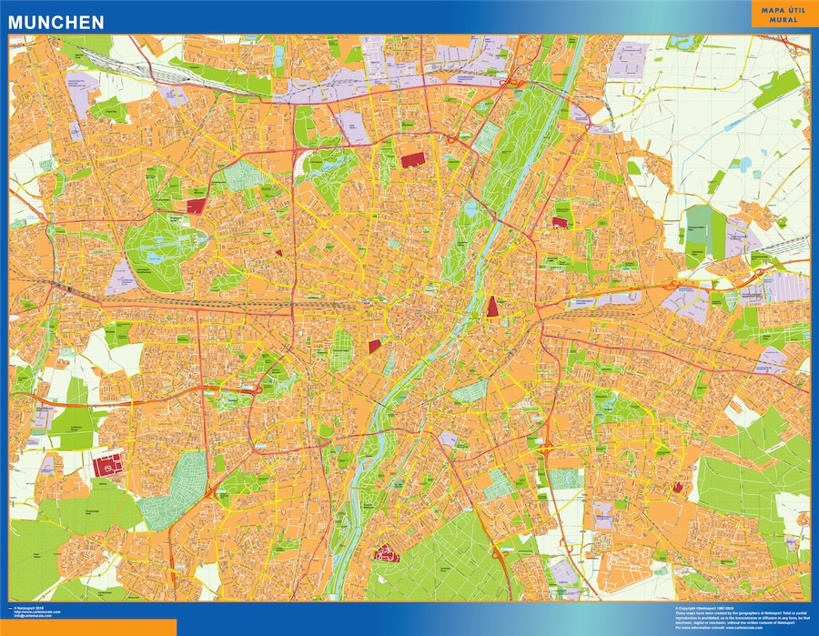 Mapa Munchen en Alemania plastificado gigante