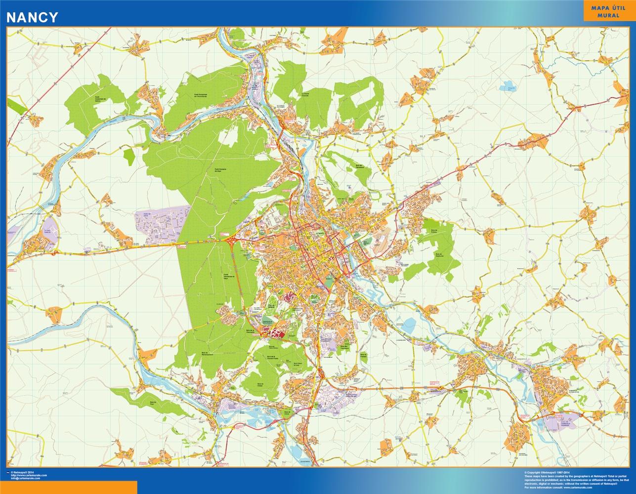 Mapa Nancy en Francia plastificado gigante