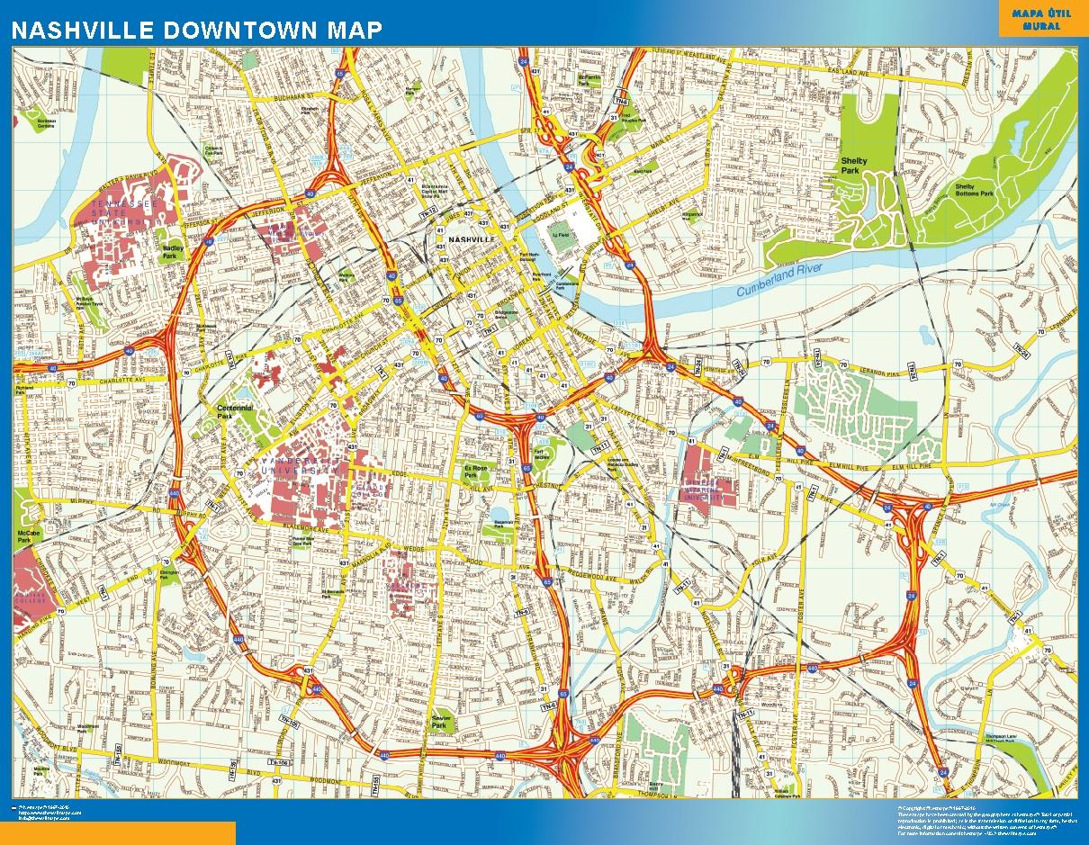 Mapa Nashville downtown plastificado gigante