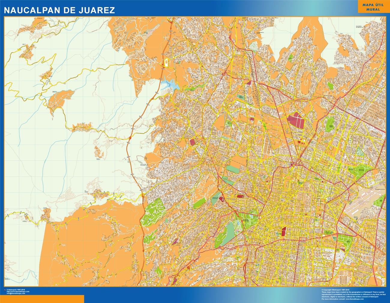 Mapa Naucalpan De Juarez en Mexico plastificado gigante