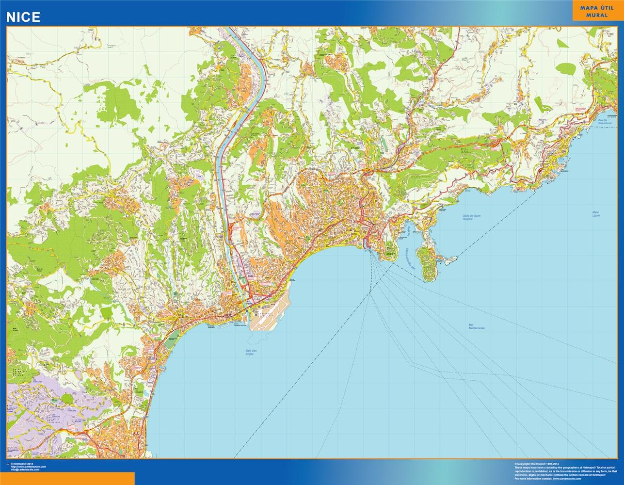 Mapa Nice en Francia plastificado gigante