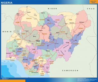 Mapa Nigeria plastificado gigante