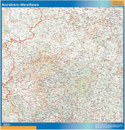 Mapa Nordrhein-Westfalen plastificado gigante